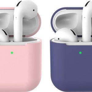 2 beschermhoesjes voor Apple Airpods - Roze & Donker Blauw - Siliconen case geschikt voor Apple Airpods 1 & 2