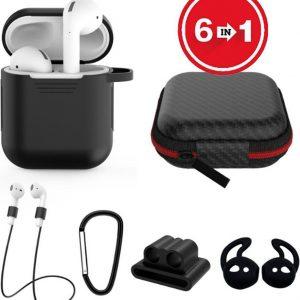 6 in 1 siliconen case met accessoires geschikt voor AirPods - zwart
