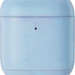 AirPods hoesje van By Qubix - AirPods 1/2 hoesje Genuine Leather Series - hard case - licht blauw