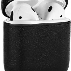 Airpods 2   Airpods 1 cover case hoesje - leer - AirPods case - Zwart