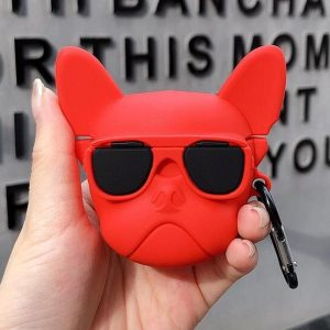 Airpods Hoesje - Airpods Case - Dieren - French Bulldog - Frenchie - Rood - Cadeau - Cadeautjes