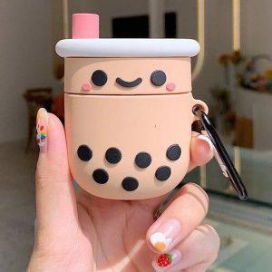 Airpods Hoesje - Airpods Case - Japanse Cartoon Kawaii Stijl Cute - Bubble Tea Smilie - Cadeau - Cadeautjes