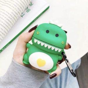 Apple AirPods Case - AirPods 1 & 2 - Dinosaurus - Dinosaur - Groen - Geel - Kawaii - Japan - Cute - Love - Hartjes