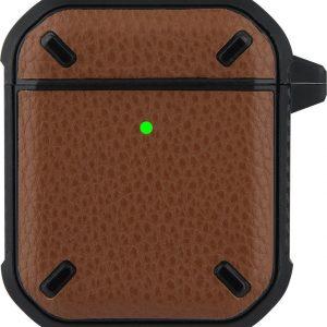 Apple Airpods Pro Lederlook Case - Softcase - Sleutelhanger - Silliconen - Leer - Apple Airpods - Donkerbruin