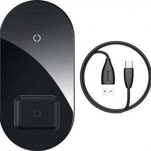 Baseus Simple Pro 2in1 15W Wireless Charger Smartphone en AirPods - Zwart
