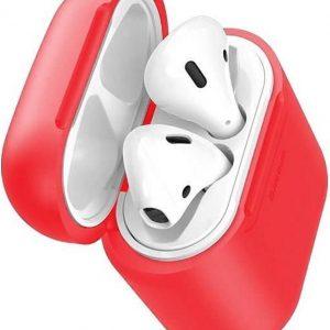 Baseus siliconen wireless / draadloze oplaad hoesje voor Apple AirPods 1 / 2 - Rood