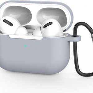 Beschermhoes met riemclip voor Apple Airpods Pro - Grijs - Siliconen case geschikt voor Apple Airpods Pro