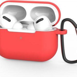 Beschermhoes met riemclip voor Apple Airpods Pro - Rood - Siliconen case geschikt voor Apple Airpods Pro