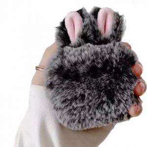 Bunny Airpods hoesje - konijnen hoesje - Geschikt voor Apple AirPods Pro - Grijs - Fluffy / Pluche