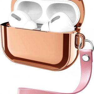 By Qubix - AirPods Pro Glans - hard case - Rosé goud - AirPods hoesjes