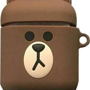 Cartoon Silicone Case voor Apple Airpods - Brown bear - met karabijn