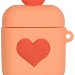 Cartoon Silicone Case voor Apple Airpods - love hart - bruin - met karabijn
