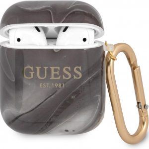 GUESS Shiny Marble AirPods 1 / AirPods 2 Case - Zwart