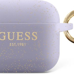GUESS Siliconen Glitter Hoesje AirPods 3 - Violet