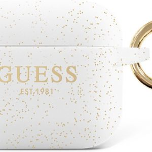 GUESS Siliconen Glitter Hoesje AirPods 3 - Wit