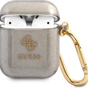 GUESS TPU Glitter Case AirPods 1 / AirPods 2 - Zwart