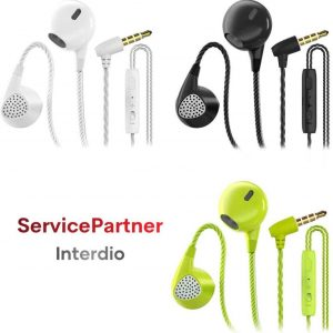 Interdio Oortelefoon - Oortjes - Earbuds - Groen - Zwart - Wit - 3 Stuks