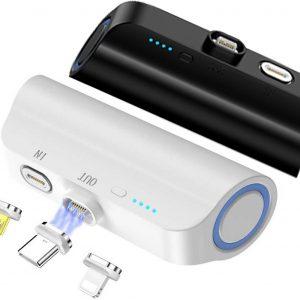 Ipsky Draadloze Powerbank - Magnetisch - Fast charging - Telefoon oplader Apple/lightning - USB-C - Micro USB - Airpods oplader - Inclusief kabel
