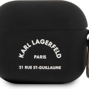 Karl Lagerfeld Airpod 3 Case - Zwart - White RSG Logo - Silicone