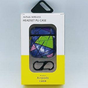 Mozaiek Kunstlederen Case Cover Hoesje voor Apple Airpods - blauw/groen - met karabijn