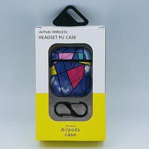 Mozaiek Kunstlederen Case Cover Hoesje voor Apple Airpods - blauw/rood - met karabijn