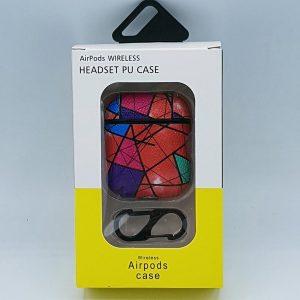 Mozaiek Kunstlederen Case Cover Hoesje voor Apple Airpods - rood - met karabijn