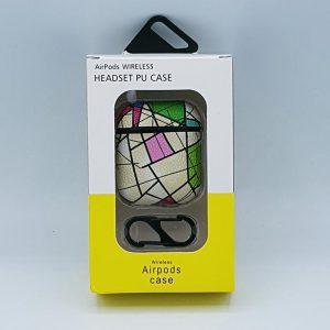 Mozaiek Kunstlederen Case Cover Hoesje voor Apple Airpods - wit - met karabijn
