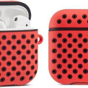 Shieldcase Case geschikt voor Airpods silicone case - rood/zwart