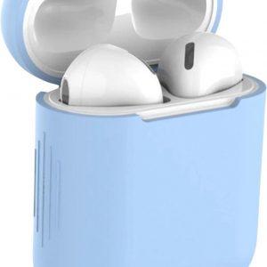 Studio Air® Airpods Hoesje Siliconen Case - Soepel Airpod Hoesje - Licht Blauw - Voor Airpods 1 en 2