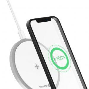 Swissten Draadloze oplader - Qi Wireless Charger Geschikt voor: iPhone - Airpods - Samsung en Android smartphones - 15W - Wit