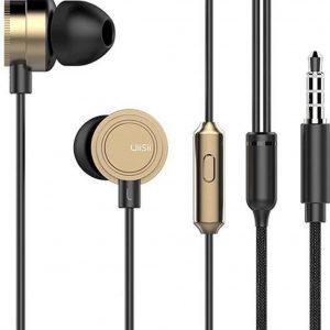 UiiSii HM13 - In Eat Oordopjes - Oortjes met draad en microfoon - 120cm 3,5mm Audiokabel - Goud