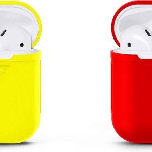 ZOMER ACTIE Voordeelset Apple Airpods Siliconen - Case - Cover - Hoesje - Geschikt voor Apple Airpods 1 en 2 - Geel / Rood