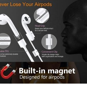anti lost airpods- Airpods draad - Airpods kabel siliconen - Siliconen Koord voor Iphone Airpods - Anti lost - White - 52 cm - Tijdens sporten - Handig tijdens fysiek werk